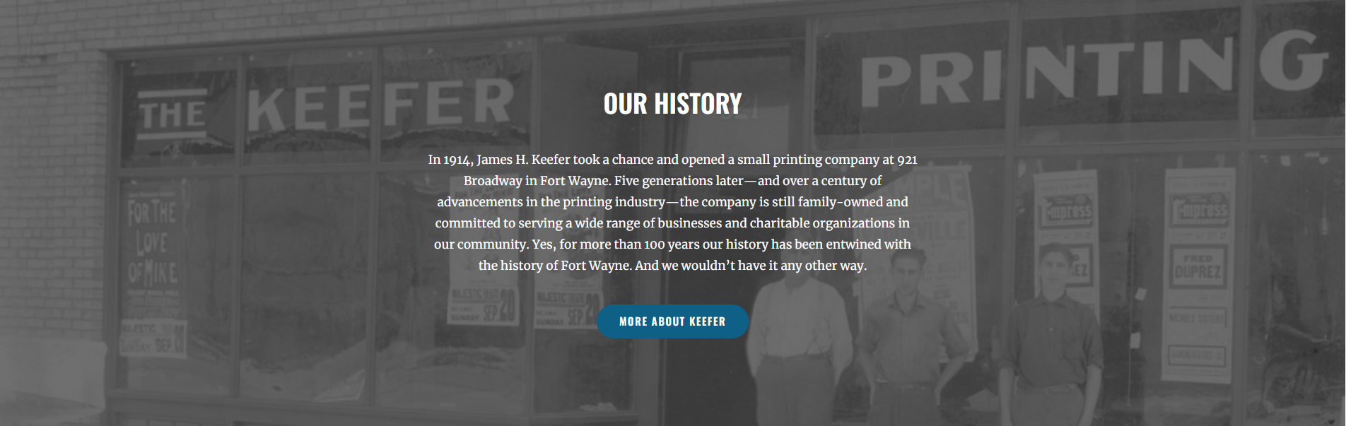 History section on Keefer Printing website