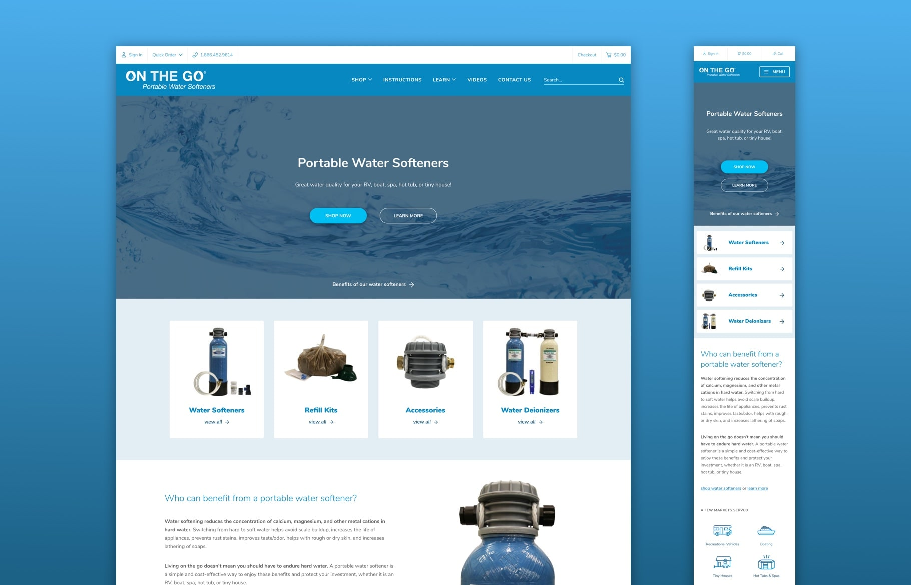 Screenshots of Portable Water Softeners site on desktop and mobile