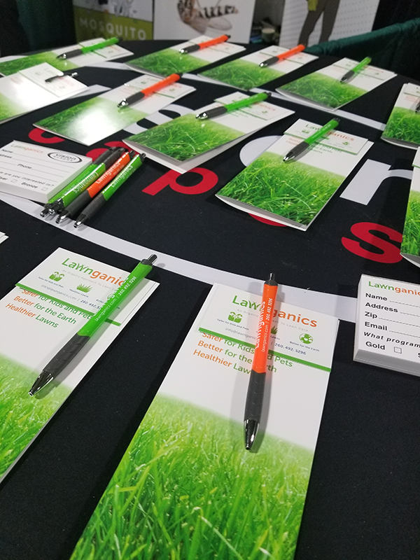 Lawnganics Brochures, Business Cards and Pens