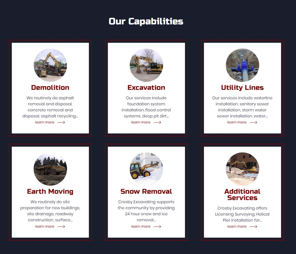 Crosby's new website features their areas of expertise