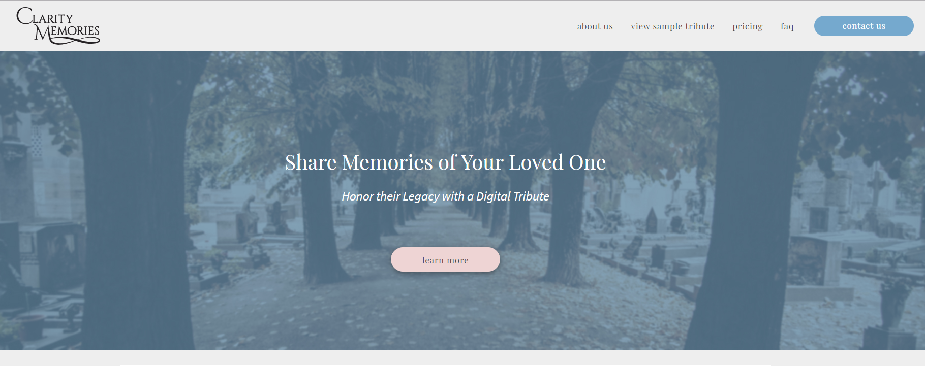 Homepage view of Clarity Memories website