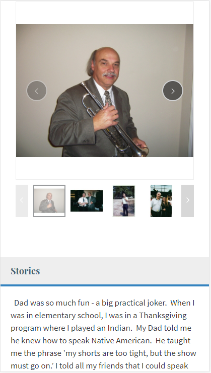 Sample tribute page viewed on a mobile device