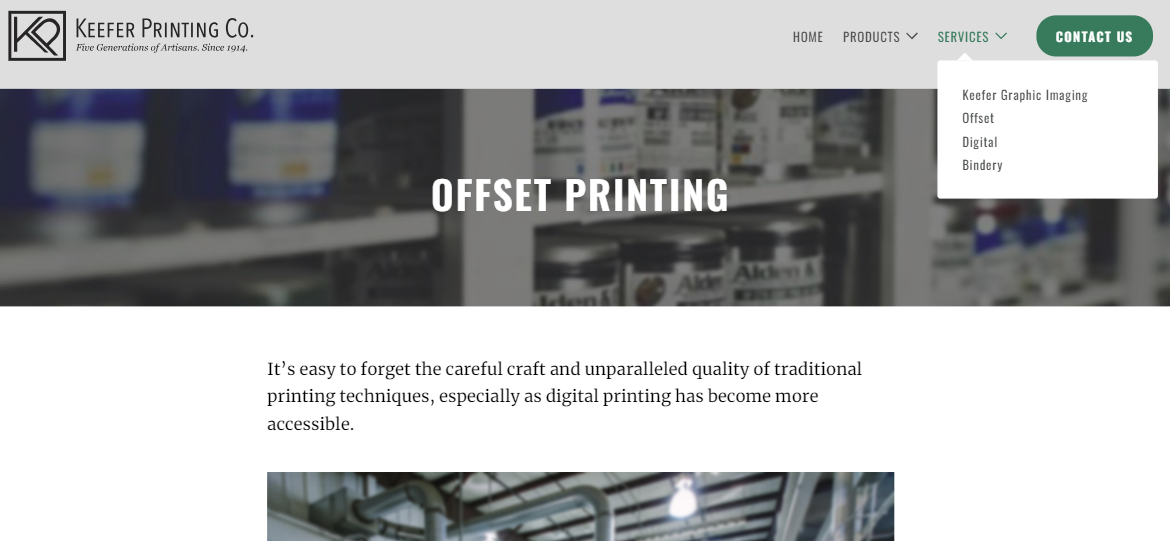Services section of Keefer Printing website
